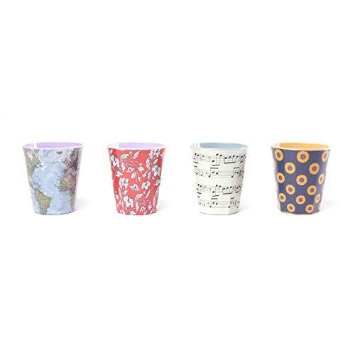 QUY CUP. Map, Opera, Ibiscus, Sunflower. Juego de 4 vasos. Fabricado con fibras de bambú natural. Reutilizable. 250ml. Diseño italiano exclusivo, sostenible y sin BPA.