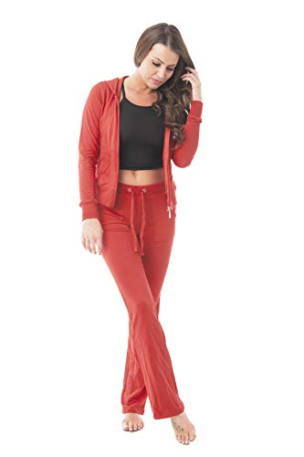 Hollywood Star Fashion Damen Baumwoll-Frottee Jacke und Hose Trainingsanzug Set -  Pink -  XXX-Large