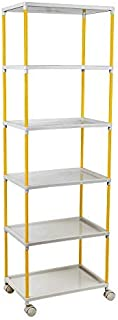 Little One's Multipurpose 6 Plastic Shelf Storage Rack/Shoe Rack with Wheels (Unbreakable Material), Tray 6