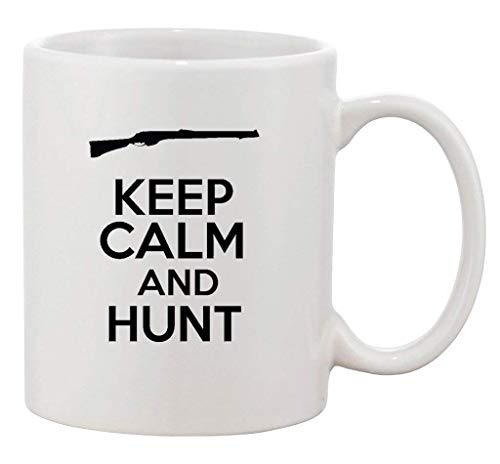 Taza de cerámica divertida con diseño de animales salvajes con texto en inglés 'Keep Calm and Hunt Hunting Hunter'