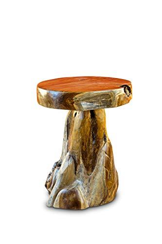 Kinaree Mesa auxiliar JOMTIEN III de madera maciza de teca – 50 cm redonda de raíz tronco de árbol – Soporte para flores rústico