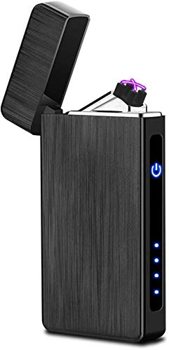 Arc Lighter USB Rechargeable Electric Lighters Windproof Flameless Lighter Arc Plasma Lighter with LED Battery Indicator (Black Brushed)