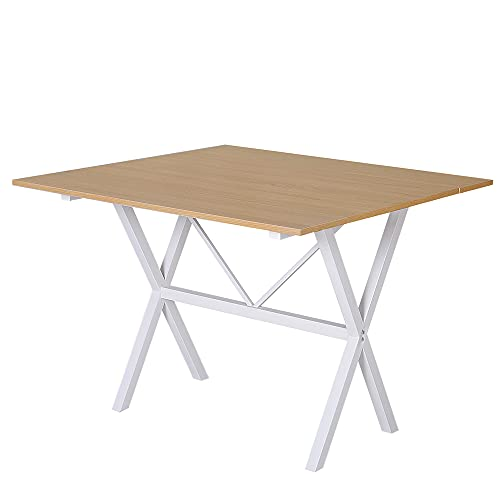 HOMCOM Dining Table Drop Leaf Metal Frame MDF Top Folding Expandable 6 Person Oak