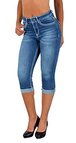 ESRA Damen Capri Hose Damen High Waist Caprihose Damen Dicke Naht Kurze Jeans Hose hoher Bund bis Übergröße J563