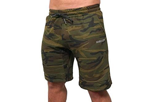 Khroom Sport - Hochwertige Herren Trainingshose im Retro Camouflage Look - Kurze Jogginghose ideal für Gym, Bodybuilding, Fitness. (M)