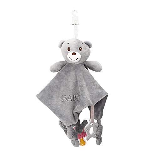 Atyhao Manta de taggies para bebés, Manta de Seguridad Unisex para bebés, Toalla de dentición de Felpa Suave, Juguete con mordedor para bebés de 0 a 36 Meses(Bear)