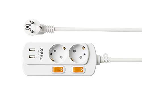 NEUVIELE 2 Fach Steckdosenleiste Mehrfachsteckdose mit USB Schalter Steckerleiste überspannungsschutz Steckdosen Verteiler 3300W 250V/16A
