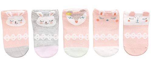Sereney Niños Calcetines 100% Algodón Lindo Dibujo de Animal Precioso Calcetines Verano Lindo Patrón para Niños Niñas 2-11 Años, Pack de 5 Pares