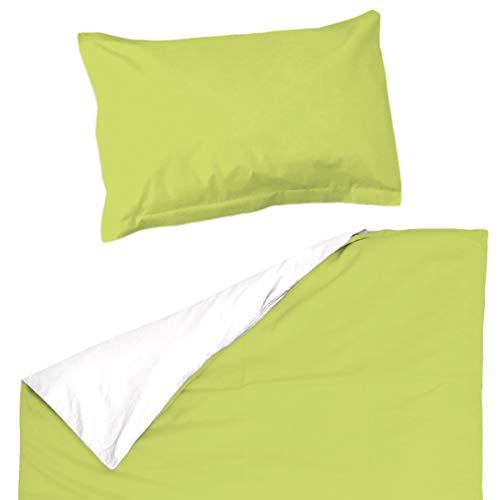 Vert et Blanc Pati'Chou - Juego de ropa de cama reversible para bebé y niño (funda nórdica de 120 x 150 cm)