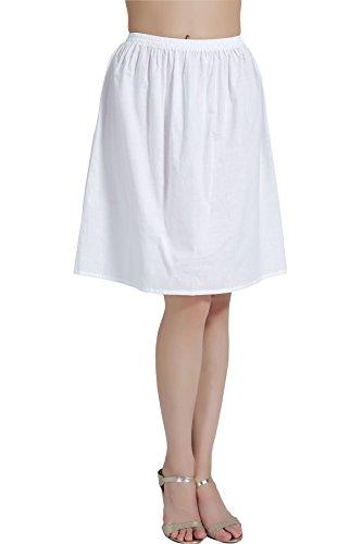 BEAUTELICATE Enaguas para Mujer Algodón Cortas Media Combinación para Vestidos Falda Blanco Marfil Negro