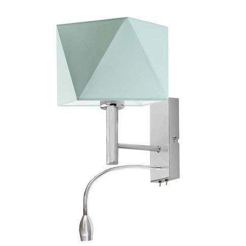 Lámpara de pared Salem con lámpara de lectura LED, pantalla de menta, marco de acero cepillado