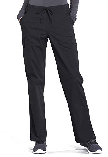 Cherokee Workwear Professionals Women Scrubs Pant Mid Rise Straight Leg Drawstring WW160, M, Black