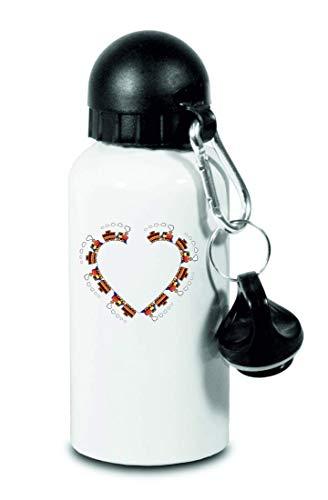Druckerlebnis24 Botella de agua – Juguetes tren, límite de locomotora, para niños, escuela, deportes, fitness, botella de agua delgada de aluminio