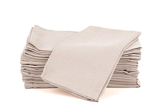 Amour Infini Baumwollservietten, 12er Pack, 45 x 45 cm, 100% ringgesponnene Premium Baumwolle, saugfähig   Beige