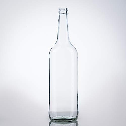 6 Leere 1 Liter Glasflaschen 1000ml mit Schraubverschluss Gold PP28 - Glastrinkflasche 1l ideal als Wasserflasche Glas 1l, Schnapsflaschen 1l, Likörflaschen 1l oder Leere Weinflaschen 100 cl