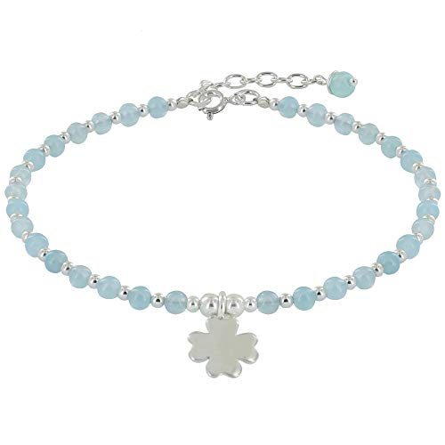 Schmuck Les Poulettes - Sterling Silber Klee Armband und Achat Perlen - Classics - Blauer Himmel