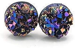 Faux Druzy Stone Earrings Hypoallergenic Metal-Free Plastic Posts, Purple/Blue, 8mm