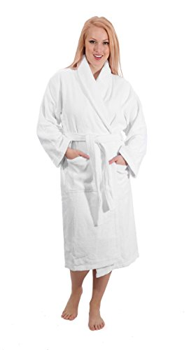 Classic Turkish Towels Luxury Shawl Terry Bathrobe - Hotel and Spa Robe Made With 100% Turkish Cotton (Medium)