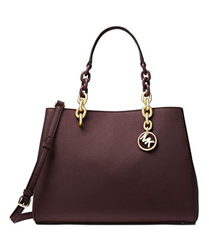 "100% Saffiano Leather in a Barolo (brown with burgundy tint) colorway, magnetic snap fastening Measurements: 12.25""W X 9""H X 5.25""D, Adjustable Strap: 18""- 20.5"", handle drop 6"" Interior Details: Back Zip Pocket, Back Slit Pocket, 2 Front Slit Pocket..."