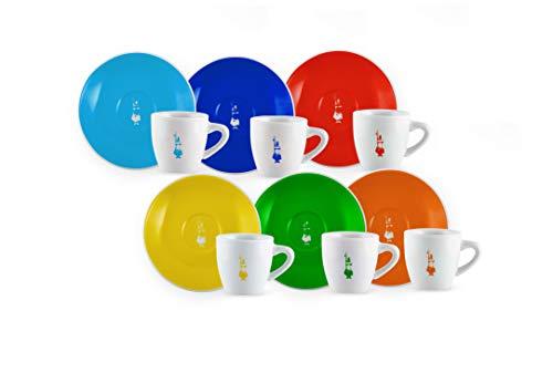Bialetti Set mit 6 Kaffeetassen mit Tasse und Untertasse, Dekor