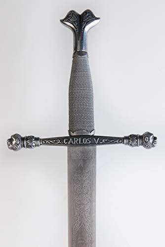 Espada sin filo de Carlos V rey emperador, de acero inoxidable fabricada en Toledo. Arma blanca decorativa para coleccionistas de réplicas históricas o para bodas, comuniones, jubilaciones