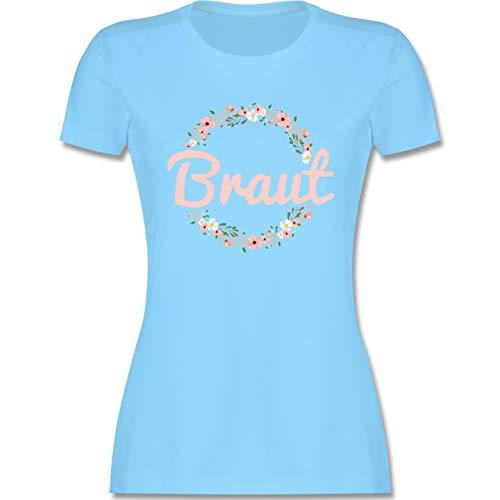 JGA Junggesellenabschied Frauen - Braut Blumenkranz rosa - XL - Hellblau - junggesellenabschied t Shirt - L191 - Tailliertes Tshirt für Damen und Frauen T-Shirt