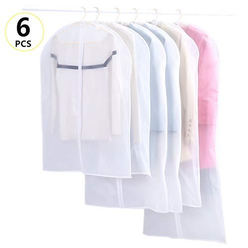 LANUCN 6 in 1 kleding hoezen met rits, 6 stks garderobe opslag stofdichte jas tassen, waterdichte pak beschermer kledinghoezen - 6 stks