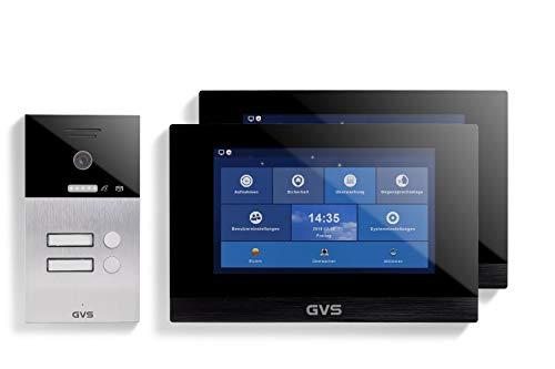 GVS AVS1068U – Videoportero IP de 4 hilos/IP – Estación de puerta empotrada IP65, 2 monitores de 10 pulgadas, App, cámara HD de 120 °, función de apertura de puerta, 32 GB de memoria, conmutador PoE, 2 juegos de casa familiar