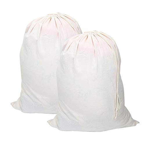 Vivifying Bolsas extra grandes de algodón natural para la colada, 2 unidades, 71 x 91 cm, plegable, con cierre de cordón, color beige