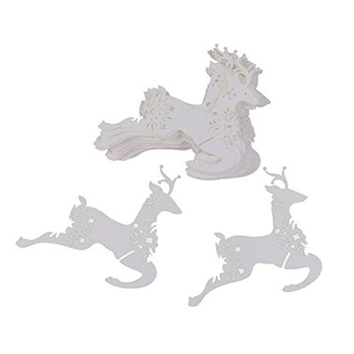 Tinksky Scheda della renna forma posto nome carte bicchiere di vino per natale nozze decorazione partito 50pcs