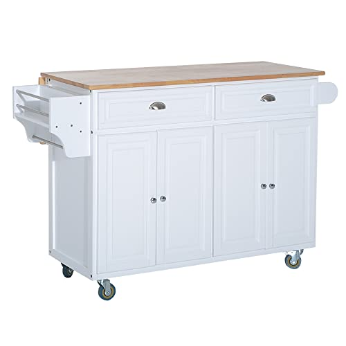 HOMCOM Rolling Kitchen Island on Wheels Ultility Cart with Drop-Leaf and Rubber Wood Countertop, Storage Drawer, Door Cabinet, White