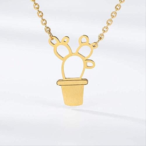 FACAIBA Collar Olla de Oro Cultura Bonsai Cactus Collares y Colgantes Mujeres Gargantilla Saguaro Planta joyería Cadena de Plata Regalos de cumpleaños Bijoux