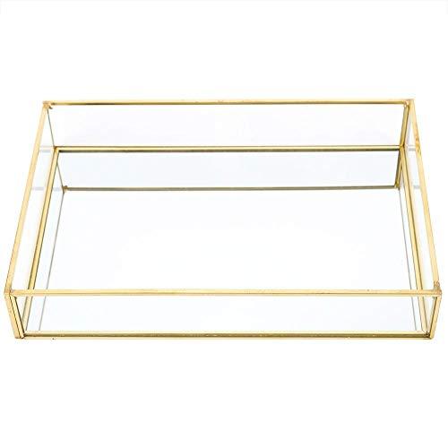 Ladieshow Make-up-Taschen, Vintage Metall Glas Aufbewahrungsbox Gold Tablett Schmuck Kosmetik Vitrinen(Large)