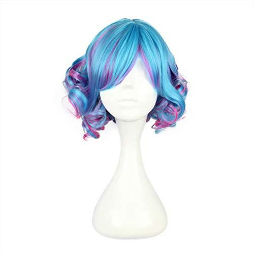 COSPLAZA Bleu/Vert Rose Mixte Lolita Bobines Boucles Cheveux Courts Femmes High School Filles Halloween Anime Voir Le Jeu De Rôle Cosplay Perruque