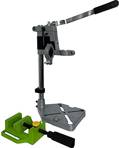 T-Mix Drill Press Stand Benchtop Drill Presse Universal Bench Clamp Support Tool Workbench Repair Drill Press Table Double Hole + Adjustable Bench + Base for Hand Drill (Double Hole Flat Pliers)