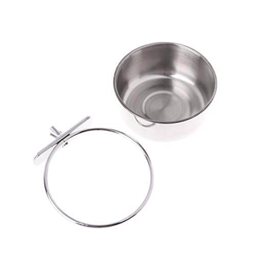 Balacoo Stainless Steel Parrot Feeder- Parrot Water Feeding Bowl Parrot Food Bowl Bird Cage Accessory for Home Shop