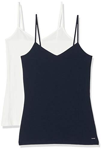 TOM TAILOR Denim Damen Doppelpack Trägertop Trägershirt/Cami Shirt, Blau (10360), S