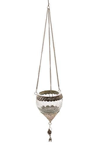 DARO DEKO Crackle Glas Teelicht Hänger rund S Ø 8cm - 1 Stück