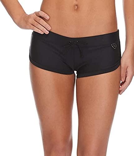 Body Glove Women's Smoothies Sidekick Solid Sporty Bikini Bottom Swimsuit Short, Black, Small