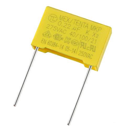 sourcing map 5 Stk.Sicherheits Kondensatoren Folie 0,22uF 275VAC X2 MKP 21mm Stift Abstand