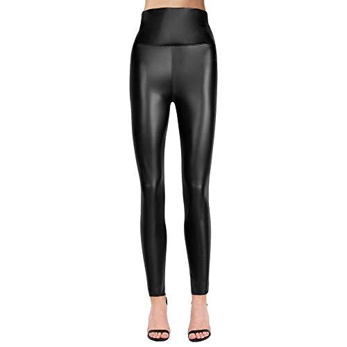 teemzone Mujer PU Leggings Cuero Skinny Elásticos Pantalones