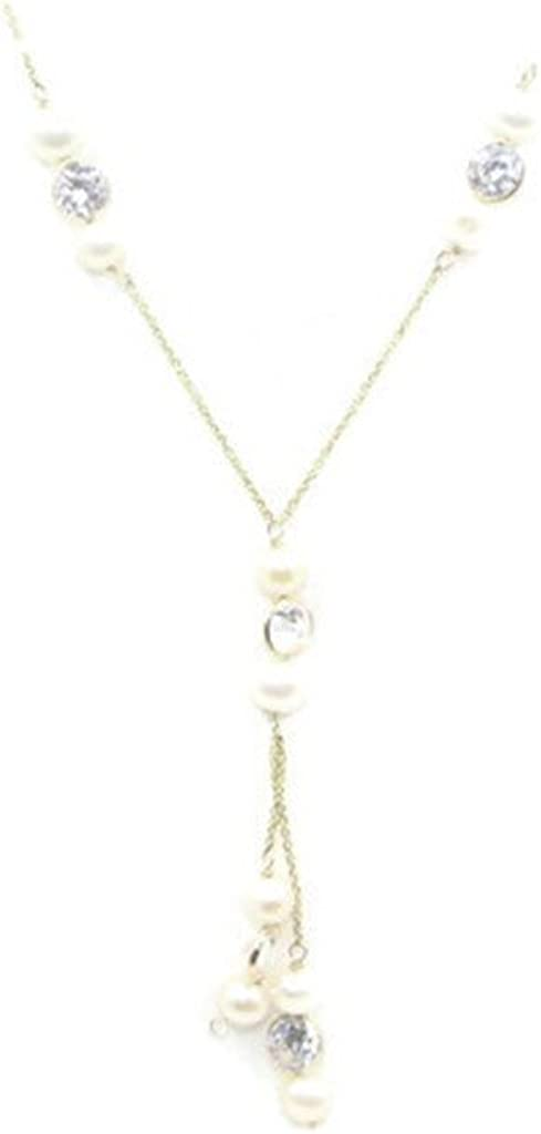 Cubic Zirconia & Freshwater Pearl 16 Necklace & Lariat 2