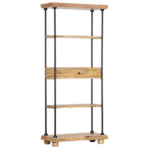 vidaXL Mangoholz Massiv Bücherregal 5 Fächer Standregal Highboard Regal Aktenregal Wandregal Bücherschrank Büroregal 80x35x180cm Stahl