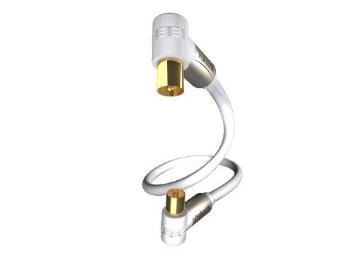 inakustik – 00426310 – Premium Koax-Antennenkabel | Für die Anforderungen bei hochauflösenden Fernsehformaten (HDTV) entwickelt | 10,0m in Weiß | 100 dB - 90°-Steckern für platzsparenden Anschluss