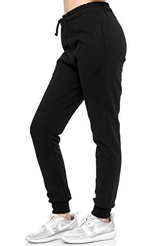 L.gonline Damen Jogginghose | Uni Colour Design 5000 | Trainingshose | Homewear | Fitness | Sport | Freizeit | Yoga | Wellness | XXL, Schwarz