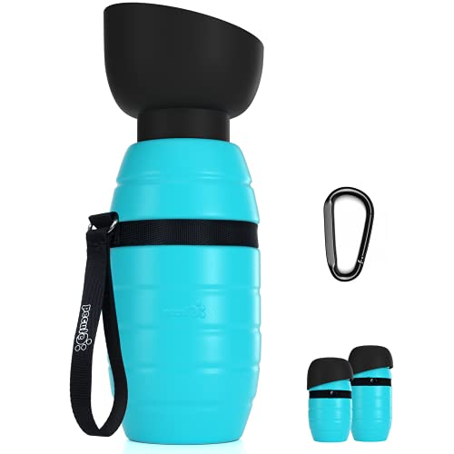 Pecute Hunde Wasserflasche mit Faltbarer Wasserschale Silikon-Reisewasserflasche in Lebensmittelqualität, ohne Lecks, Tragbar, M 650ml