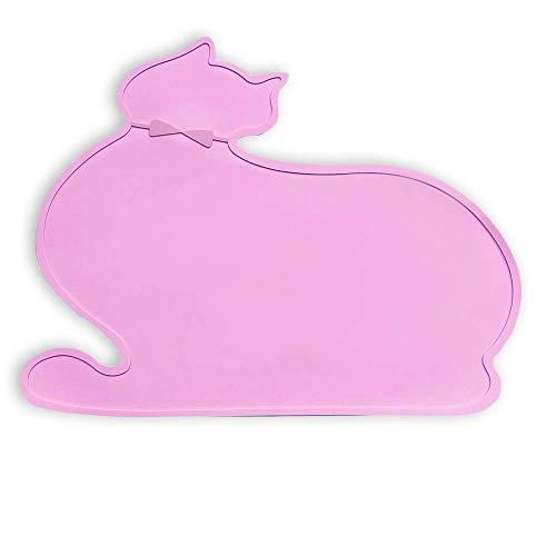 Napfunterlage Katzen Hund, VIKEDI Silikon Futtermatten I Nette Katzenform Futtermatten mit Rand I Napfunterlage aus Silikon für Katze oder Hund, Fressnapf Unterlage für Futternäpfe Wassernapf