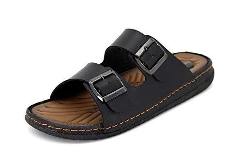 Gezer®/ Herren Pantolette/Sandale/Slipper/Gr.41-45 / Braun/Schwarz/Neu, Schuhgröße:43, Farbe:Schwarz