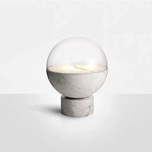 Hogreat Smart led Lámpara posmoderna Jazz Blanco mármol de Cristal lámpara de Mesa Arte Dormitorio Dormitorio Sala de Estar de Escritorio lámpara de Mesa pequeña 20 * 26 cm