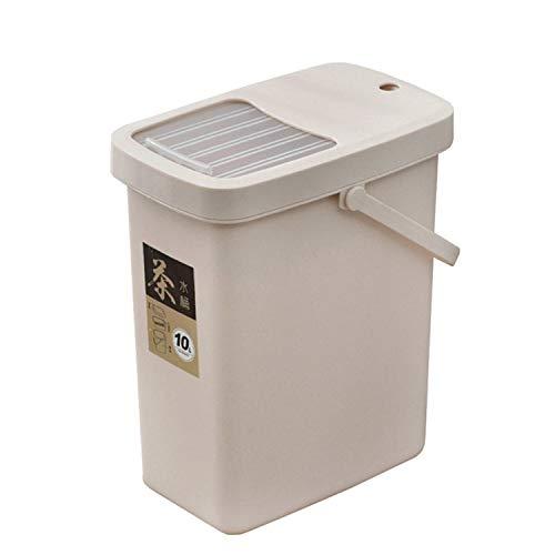 YJX Office - Secchio per residui di tè, in plastica, con coperchio a spinta, portatile, stile: 10 l
